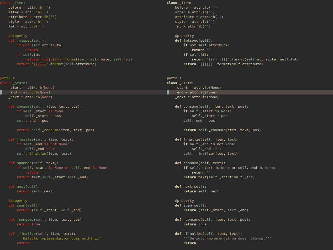 Side-by-side screenshot of same Python code highlighted by Gruvbox and bw.vim